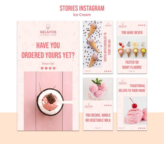 Histoires de crème glacée instagram