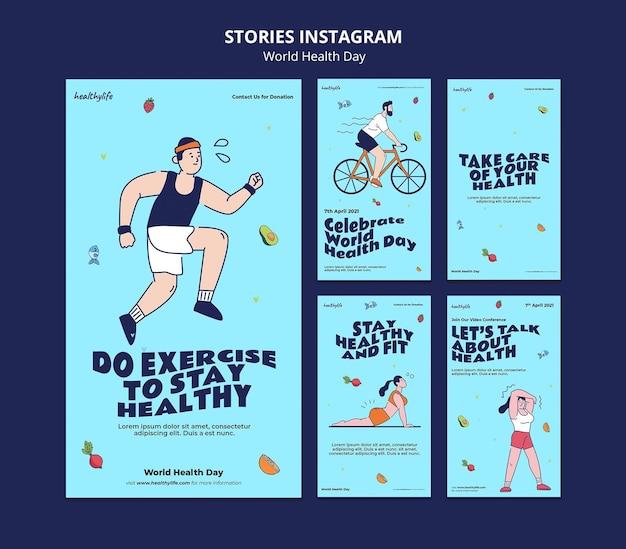 Histoires illustrées de la journée mondiale de la santé sur instagram