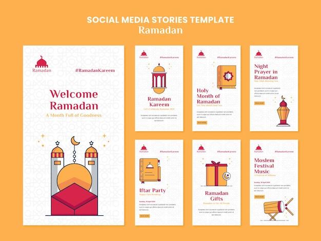 Histoires illustrées sur les réseaux sociaux du ramadan kareem