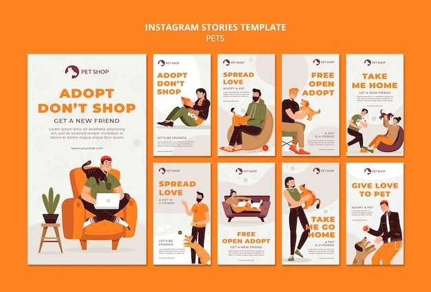 Histoires instagram d'adoption d'animalerie