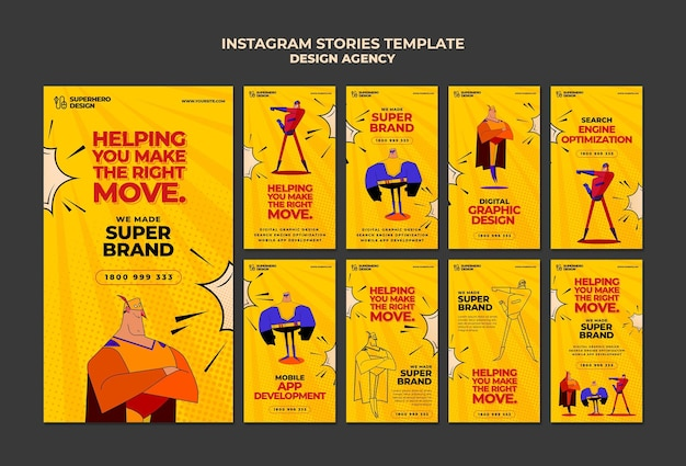 Histoires instagram d'agence de design