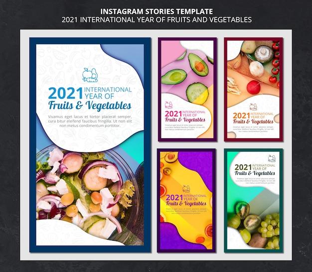 Histoires instagram de l'année internationale des fruits et légumes