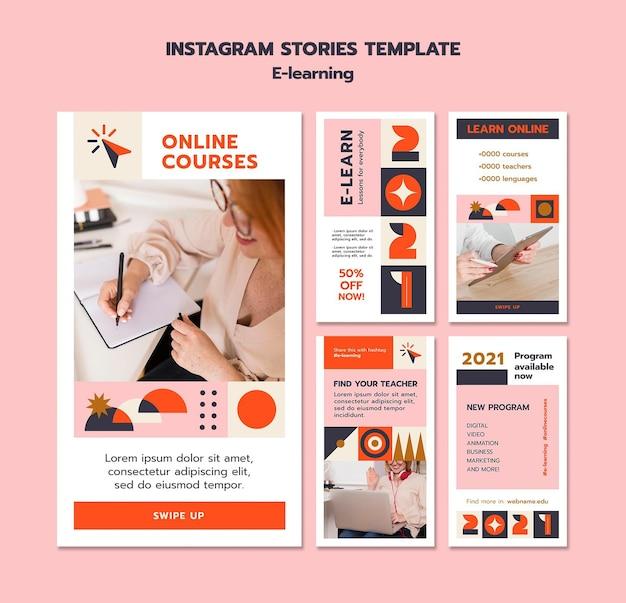 Histoires d'instagram d'apprentissage en ligne