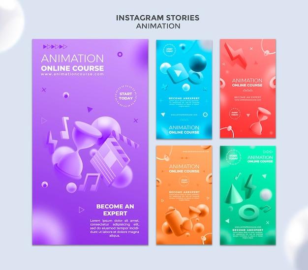 Histoires instagram de classe d'animation