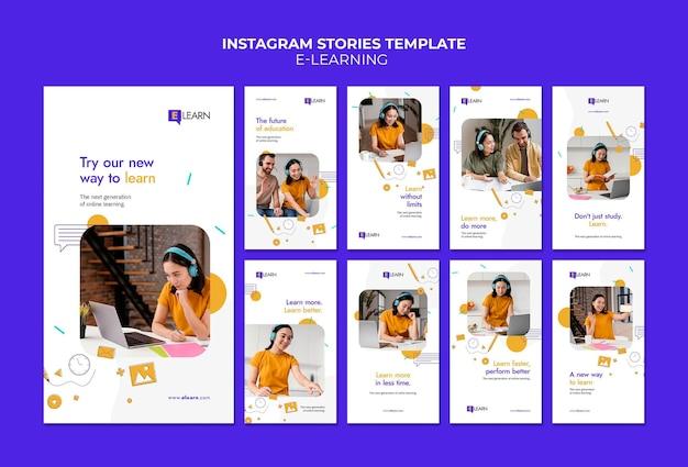 Histoires instagram de concept d'apprentissage en ligne
