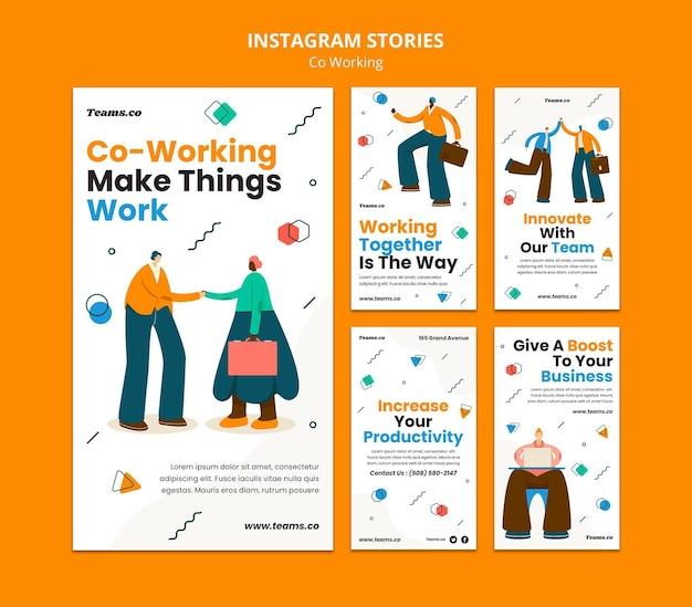 Histoires instagram de concept de coworking