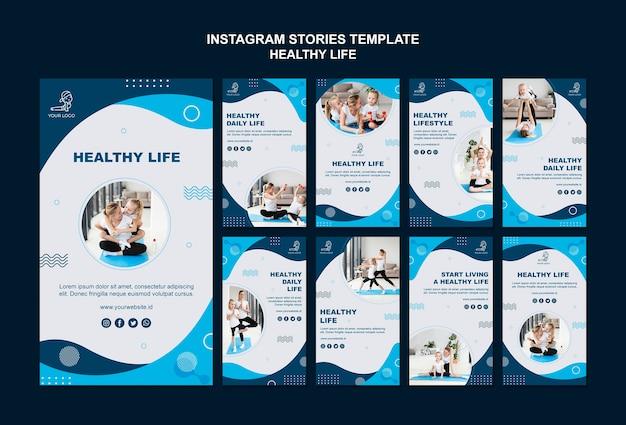 Histoires instagram de concept de vie saine