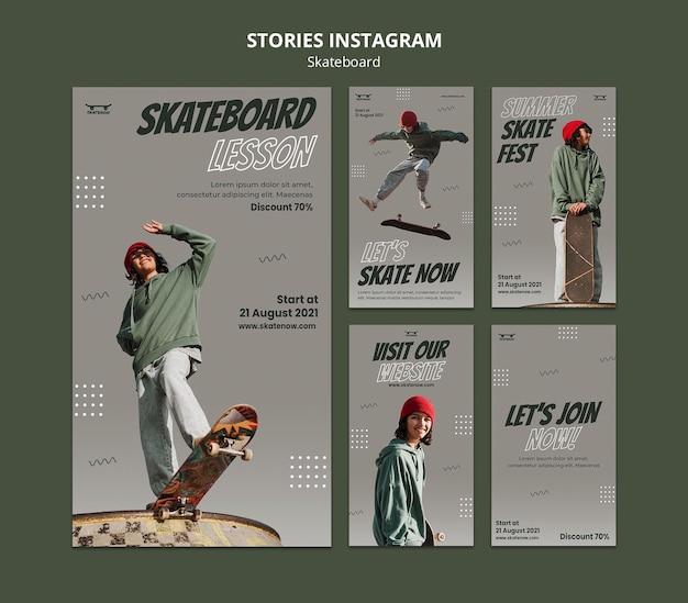 Histoires instagram de cours de skateboard