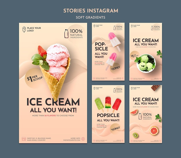 Histoires instagram de crème glacée à gradient doux