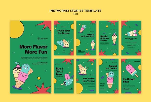 Histoires instagram sur la crème glacée