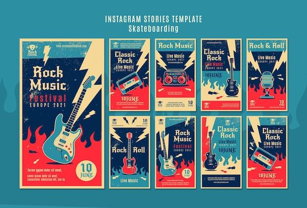 Histoires instagram du festival de musique rock