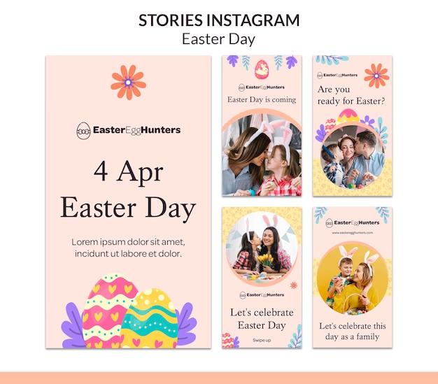 Histoires instagram du jour de pâques avec photo