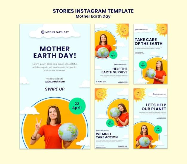 Histoires instagram du jour de la terre mère