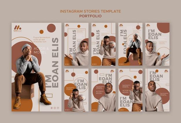 Histoires instagram du portfolio de mannequins et d'acteurs