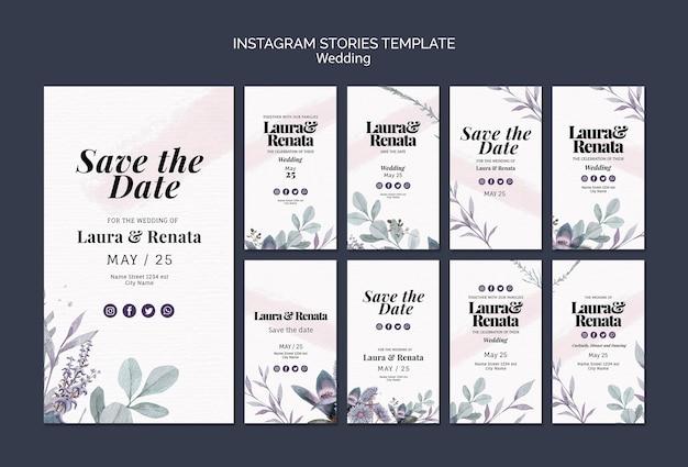 Histoires instagram d'événement de mariage