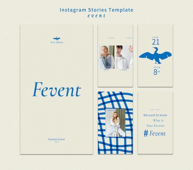 Histoires instagram d'événements de mode