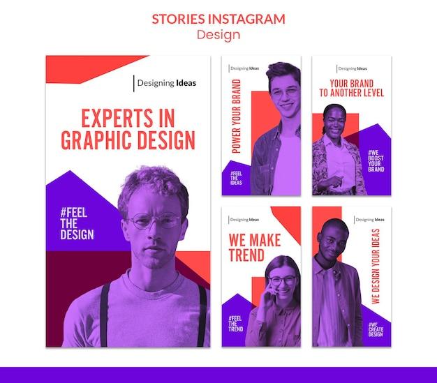 Histoires instagram d'experts en design graphique