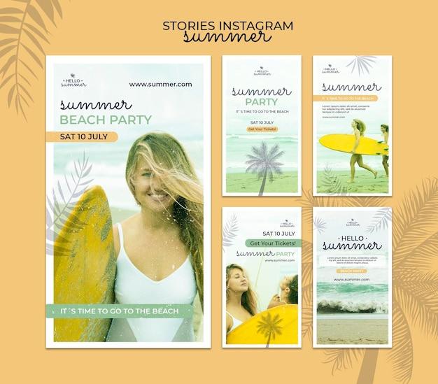 Histoires instagram de fête d'été sur la plage