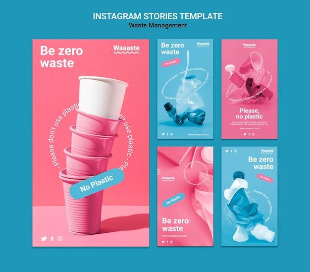 Histoires instagram de gestion des déchets