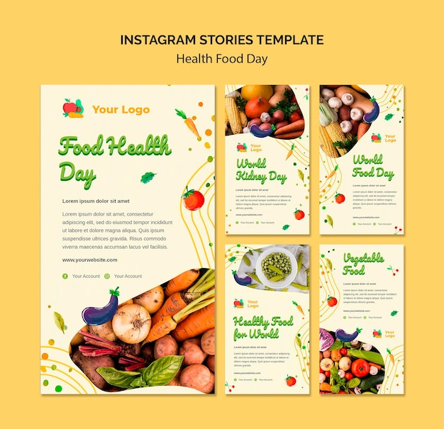 Histoires instagram de la journée de l'alimentation santé