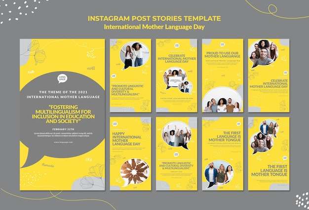 Histoires instagram de la journée internationale de la langue maternelle