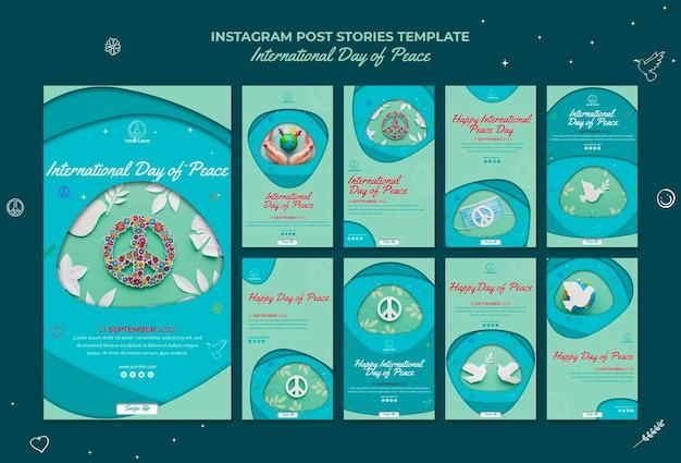 Histoires instagram de la journée internationale de la paix