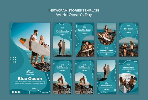 Histoires instagram de la journée mondiale de l'océan