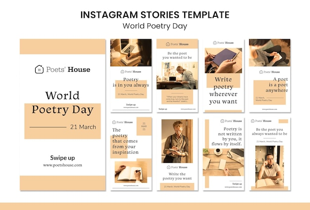 Histoires instagram de la journée mondiale de la poésie