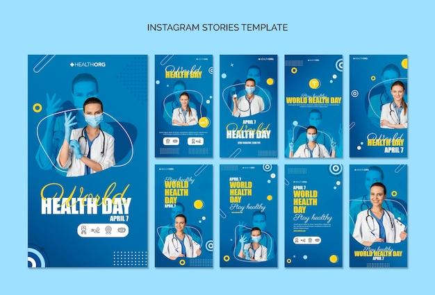 Histoires instagram de la journée mondiale de la santé avec photo