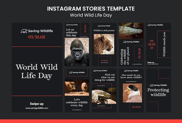 Histoires instagram de la journée mondiale de la vie sauvage