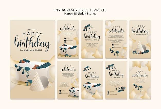 Histoires instagram de joyeux anniversaire