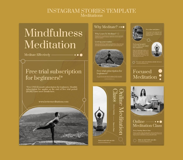 Histoires instagram de méditation et de pleine conscience