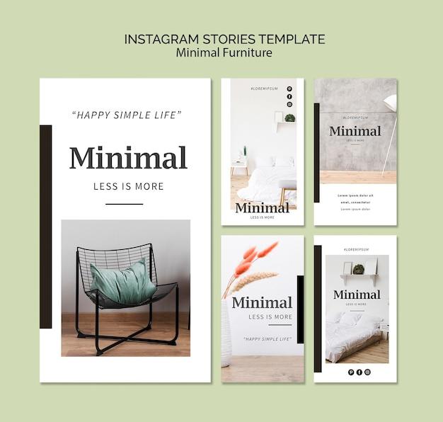 Histoires instagram minimales d'intérieurs