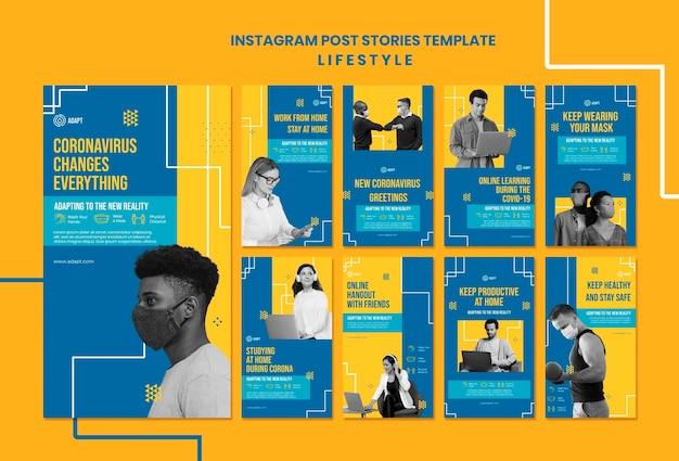 Histoires instagram sur le mode de vie du coronavirus