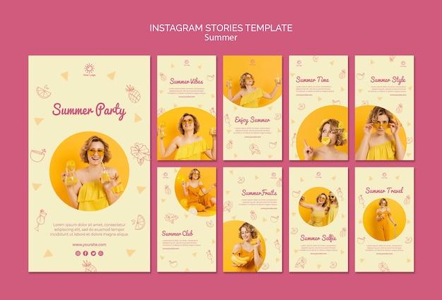 Histoires instagram avec modèle de fête d'été