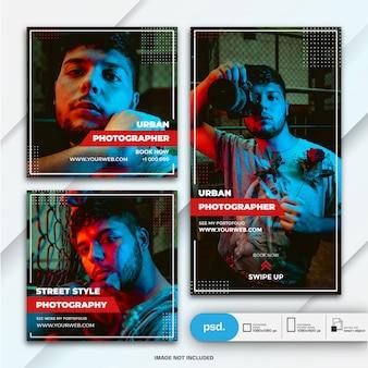 Histoires instagram et modèle de photographe de bundle de publication de flux