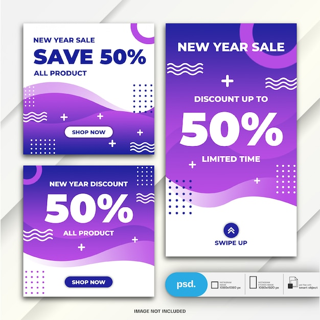 Histoires instagram et modèle de vente de nouvel an pour le pack de publication de flux