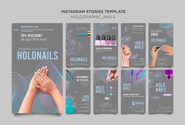 Histoires instagram d'ongles holographiques