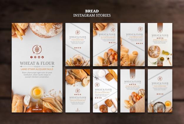 Histoires instagram de pain de blé et de farine