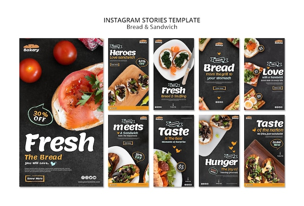 Histoires instagram de pain et de sandwich