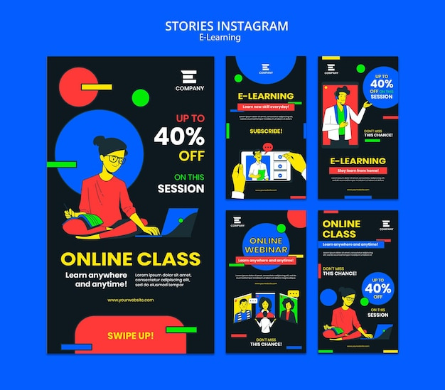 Histoires instagram de la plateforme e-learning
