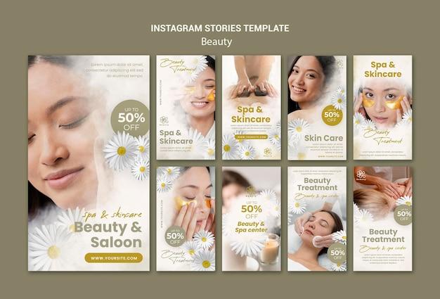 Histoires instagram pour la beauté et le spa avec des fleurs de femme et de camomille