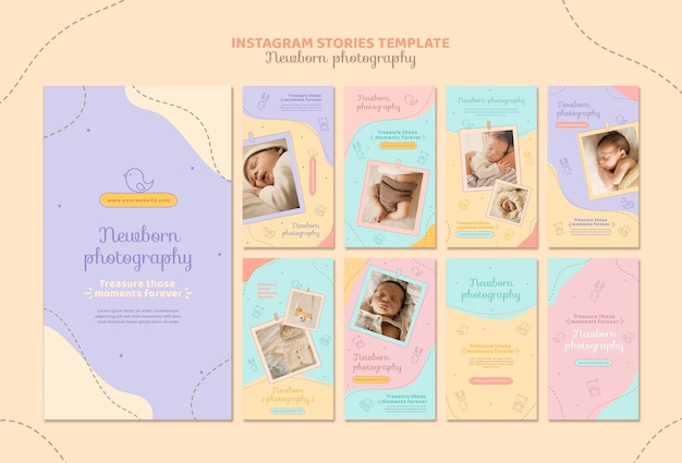Histoires instagram de prise de photo de nouveau-né mignon