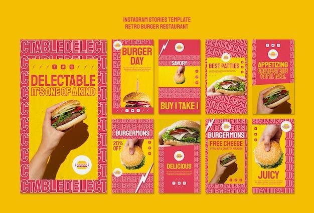 Histoires Instagram De Restaurant Burger Rétro Psd gratuit