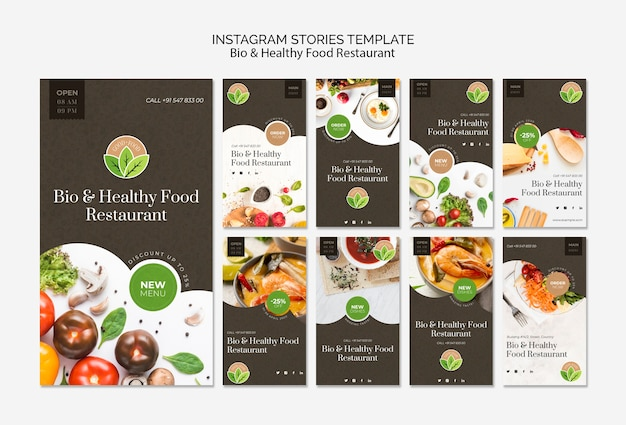 Histoires instagram de restaurant de nourriture saine