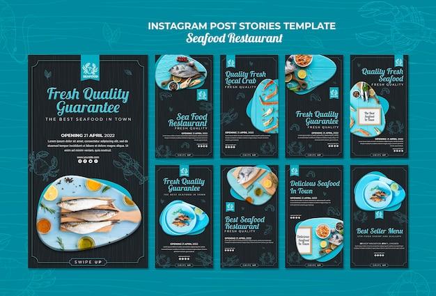 Histoires instagram de restaurants de fruits de mer