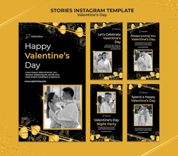 Histoires instagram de la saint-valentin avec des détails dorés