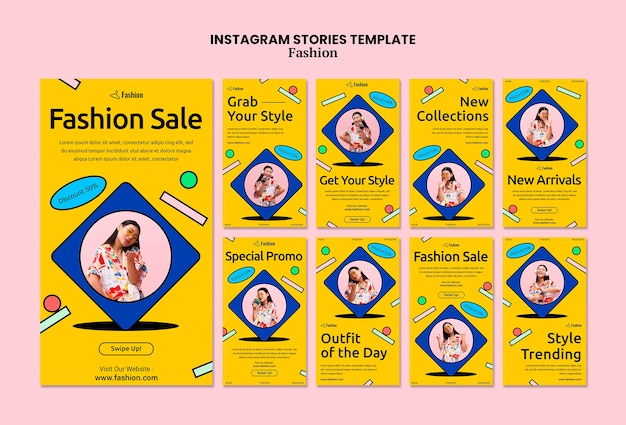 Histoires instagram de soldes de mode