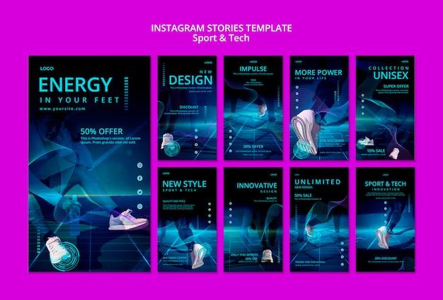 Histoires instagram de sport et de technologie