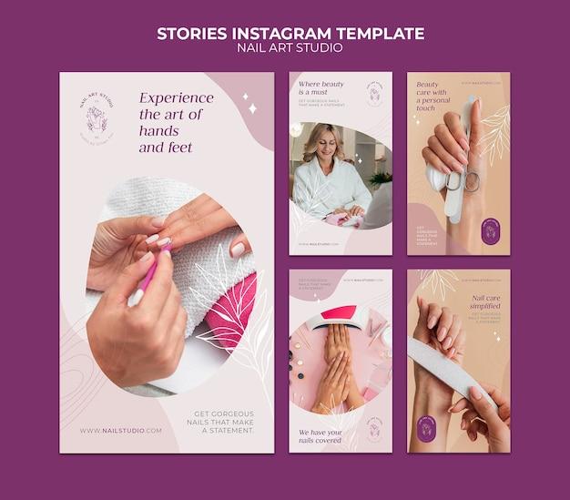 Histoires instagram de studio d'art d'ongle